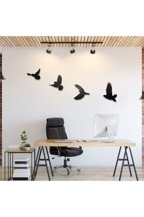 Üçgen Dekoratif Modern Dörtlü Kuş Duvar Süsü Duvar Dekoru 2