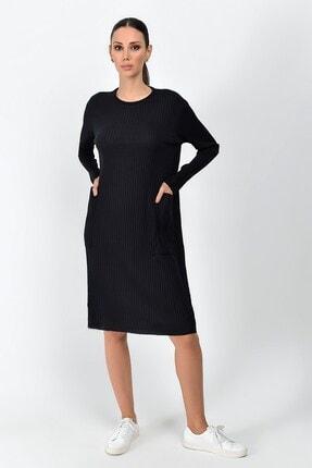 Cotton Mood Kadın Siyah Kalın Fitilli Kaşkorse Cepli Uzun Tunik Elbise 9361437 4