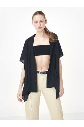 Twist Kadın Siyah Düşük Kol Düğme Kapama Ceket 0