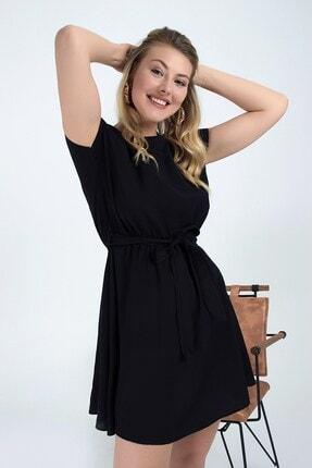Cotton Mood 92210142 Bodrum Beli Lastikli Yarasa Kol Elbise Sıyah 0