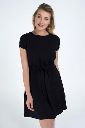 Cotton Mood 92210142 Bodrum Beli Lastikli Yarasa Kol Elbise Sıyah 2