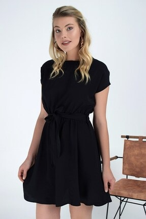 Cotton Mood 92210142 Bodrum Beli Lastikli Yarasa Kol Elbise Sıyah 3