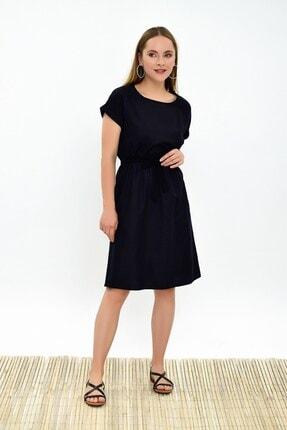 Cotton Mood Kadın Siyah Dokuma Viskon Beli Lastikli Yarasa Kol Elbise 9303031 3