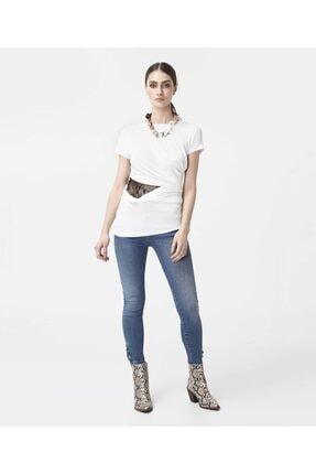 İpekyol Kadın Beyaz Bel Detaylı Tshirt 1