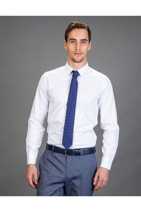 Tudors Slim Fit Düz Beyaz Kravatlık, Erkek Gömlek 0