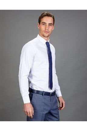 Tudors Slim Fit Düz Beyaz Kravatlık, Erkek Gömlek 1
