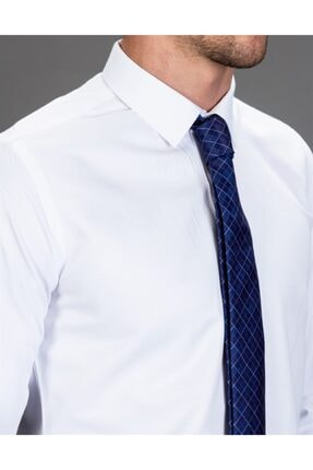 Tudors Slim Fit Düz Beyaz Kravatlık, Erkek Gömlek 3