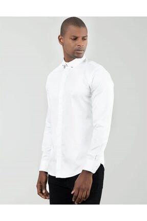 Tudors Erkek Beyaz Slim Fit Yaka İğneli Gömlek 1