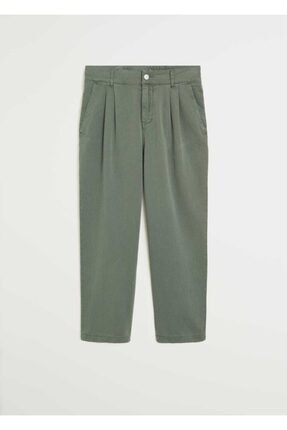 Mango Kadın Yeşil Rahat Koton Pantolon 67037664 0