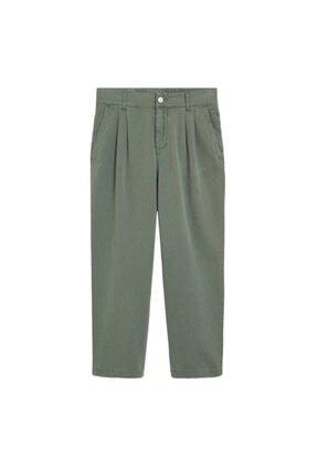 Mango Kadın Yeşil Rahat Koton Pantolon 67037664 3