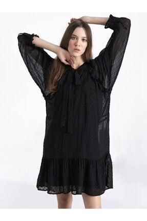 Twist Kadın Siyah Fırfır Şeritli Elbise 1