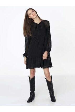 Twist Kadın Siyah Fırfır Şeritli Elbise 2