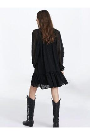 Twist Kadın Siyah Fırfır Şeritli Elbise 3