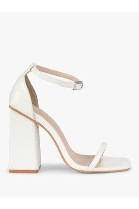 Twist Kadın Beyaz İnce Bantlı Topuklu Ayakkabı 1