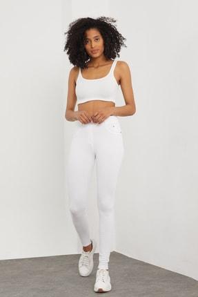 Meis Kadın Beyaz Cepli Pantolon Görünümlü Tayt 0