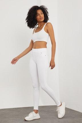 Meis Kadın Beyaz Cepli Pantolon Görünümlü Tayt 1