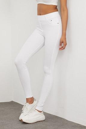 Meis Kadın Beyaz Cepli Pantolon Görünümlü Tayt 4