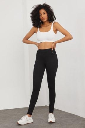 Meis Kadın Siyah Cepli Pantolon Görünümlü Tayt 0