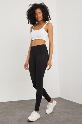 Meis Kadın Siyah Cepli Pantolon Görünümlü Tayt 1