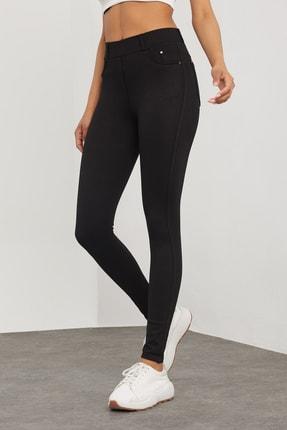 Meis Kadın Siyah Cepli Pantolon Görünümlü Tayt 3
