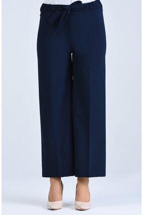 Moda Bu Kadın Lacivert Bel Lastikli Bağlamalı Bol Paça Pantolon 2