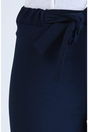 Moda Bu Kadın Lacivert Bel Lastikli Bağlamalı Bol Paça Pantolon 3
