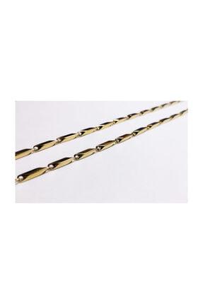 platin hediyelik Altın Sarısı Renk Çubuklu 3 mm Çelik Kolye Zincir Kolye 2