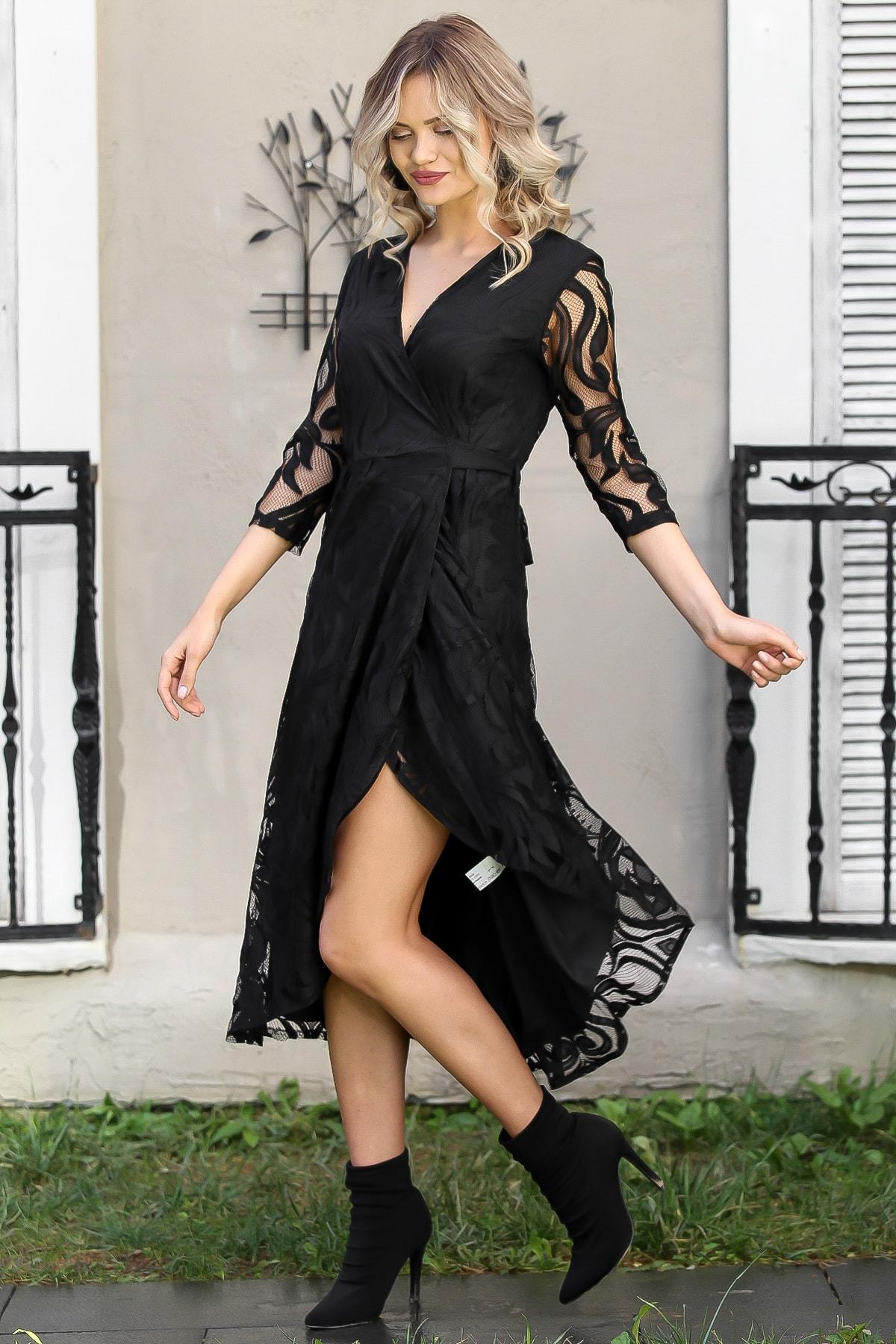 Chiccy Kadın Siyah Dantel Yaprak Desenli Kruvaze Astarlı Elbise M10160000EL96030 3