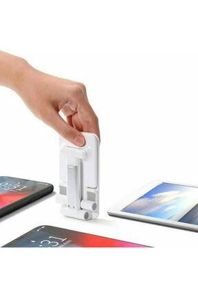 Coverzone Masaüstü Tablet Ve Telefon Tutucu Katlanabilir Masaüstü Stand Beyaz 2