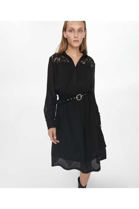 İpekyol Kadın Siyah Dantel Mix Elbise 2