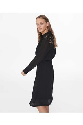 İpekyol Kadın Siyah Dantel Mix Elbise 3