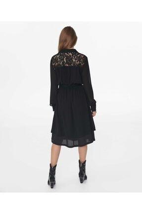 İpekyol Kadın Siyah Dantel Mix Elbise 4