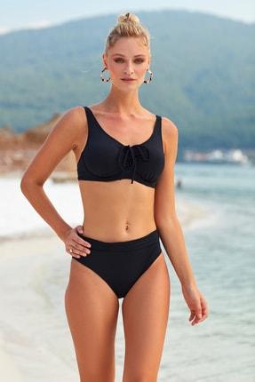 Pierre Cardin Kadın Siyah Sürgülü Toparlayıcı Bikini 0
