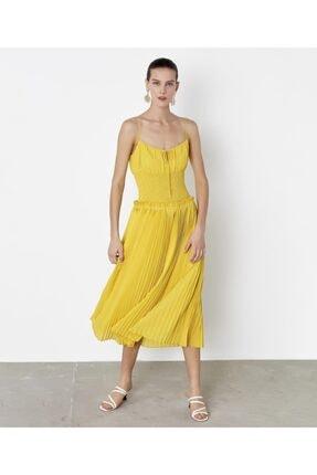 İpekyol Kadın Sarı Bel Vurgulu Askılı Elbise 1