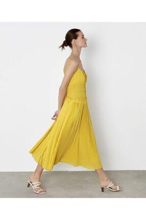 İpekyol Kadın Sarı Bel Vurgulu Askılı Elbise 2