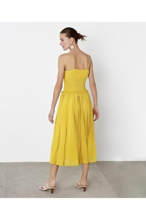 İpekyol Kadın Sarı Bel Vurgulu Askılı Elbise 3