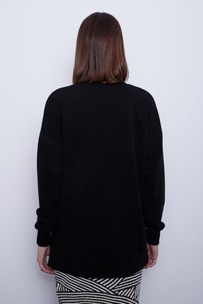 TAKE7 Kadın Siyah Bisiklet Yaka Uzun Kollu Basic Örme Sweatshirt 3