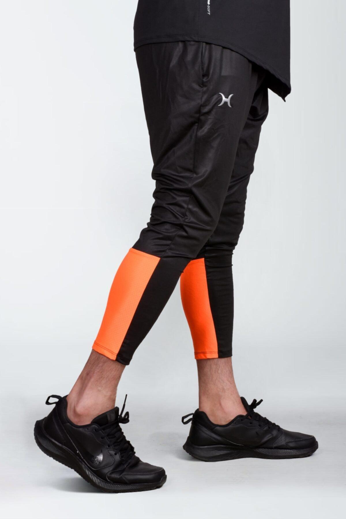Erkek Sporcu Taytı Cepli Siyah/turuncu Hlv3017