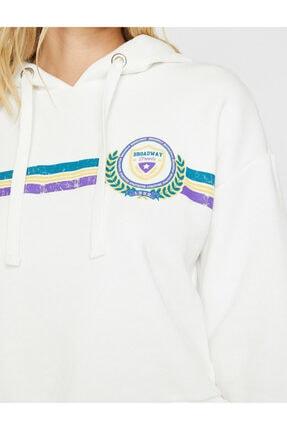 Koton Kadın Ekru Yazılı  Sweatshirt 4