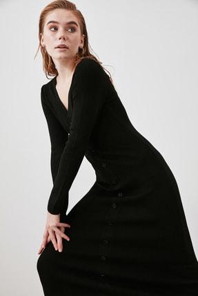 TRENDYOLMİLLA Siyah Düğmeli Triko Elbise TWOAW21EL2353 0