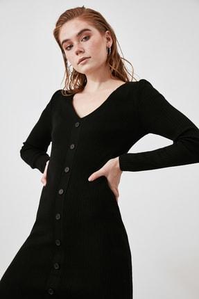 TRENDYOLMİLLA Siyah Düğmeli Triko Elbise TWOAW21EL2353 1