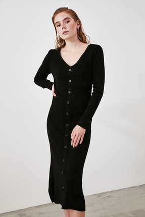 TRENDYOLMİLLA Siyah Düğmeli Triko Elbise TWOAW21EL2353 3