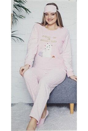 Pijamoni Kadın Pembe Kedi Desenli Welsoft Polar Pijama Takımı 4120-60 2