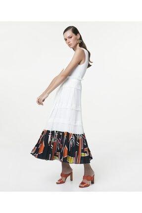 İpekyol Kadın Beyaz Eteği Kumaş Mixli Anvelop Elbise 1