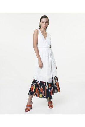 İpekyol Kadın Beyaz Eteği Kumaş Mixli Anvelop Elbise 2