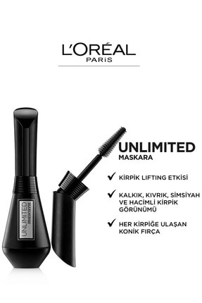 L'Oreal Paris Unlimited Siyah Maskara 3