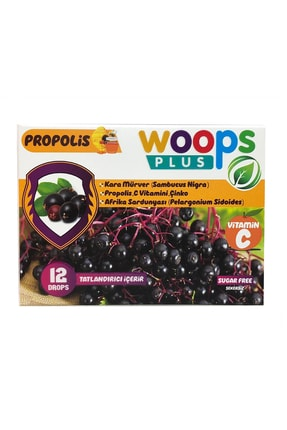 Woops Plus Kara Mürver, Propolis, Afrika Sardunyası, C Vitamini Ve Çinko Içeren Portakal Aromalı 12'li Pastil 0