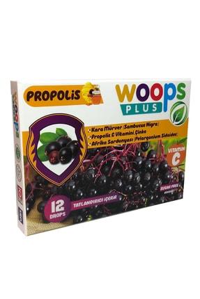 Woops Plus Kara Mürver, Propolis, Afrika Sardunyası, C Vitamini Ve Çinko Içeren Portakal Aromalı 12'li Pastil 2