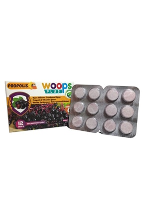 Woops Plus Kara Mürver, Propolis, Afrika Sardunyası, C Vitamini Ve Çinko Içeren Portakal Aromalı 12'li Pastil 4