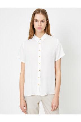 Koton Kadın Beyaz Düğme Detaylı Kısa Kollu Gömlek 2